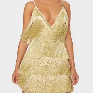 PrettyLittleThing Gold Tassel Fringe Dress